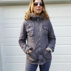 G21 three-quarter length green coat with hood